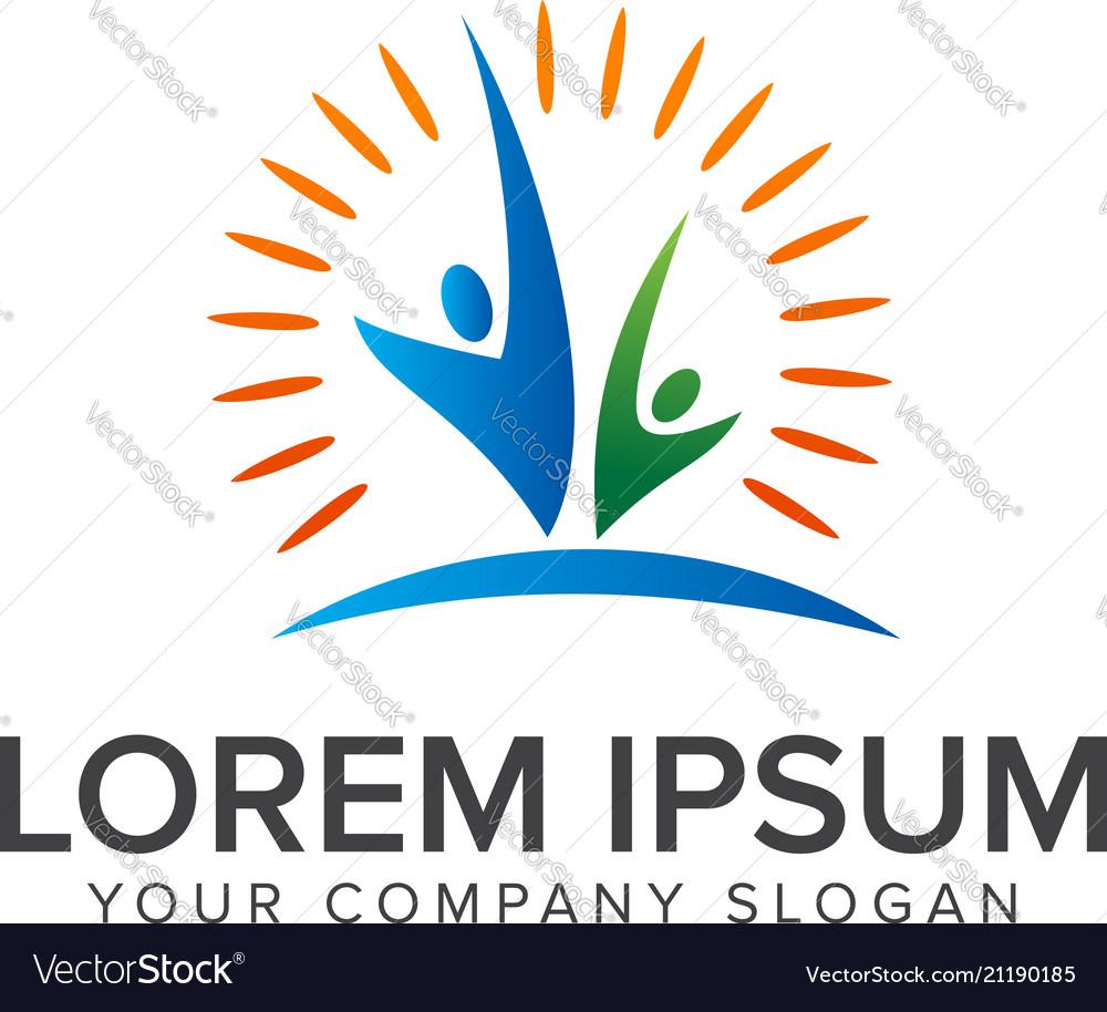Successful partners people logos design concept