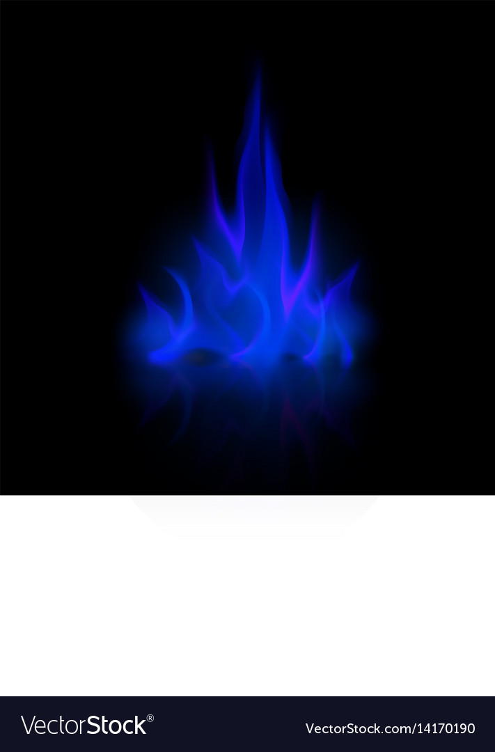 Blue fire flame bonfire isolated on background