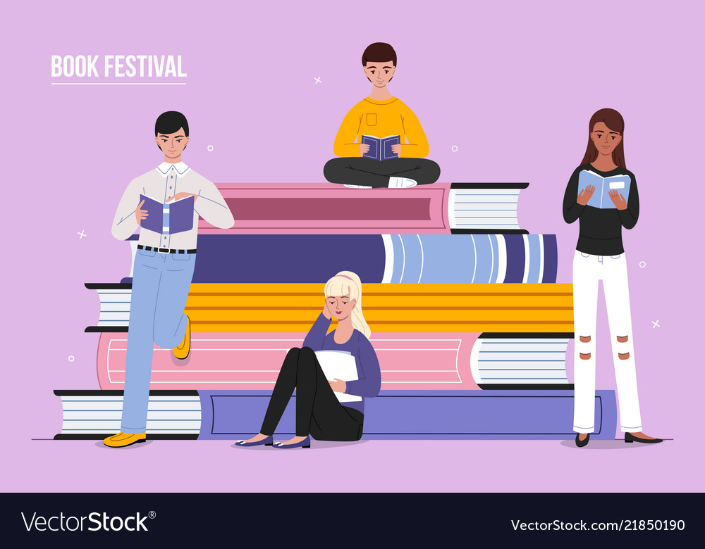 Book festival reading people