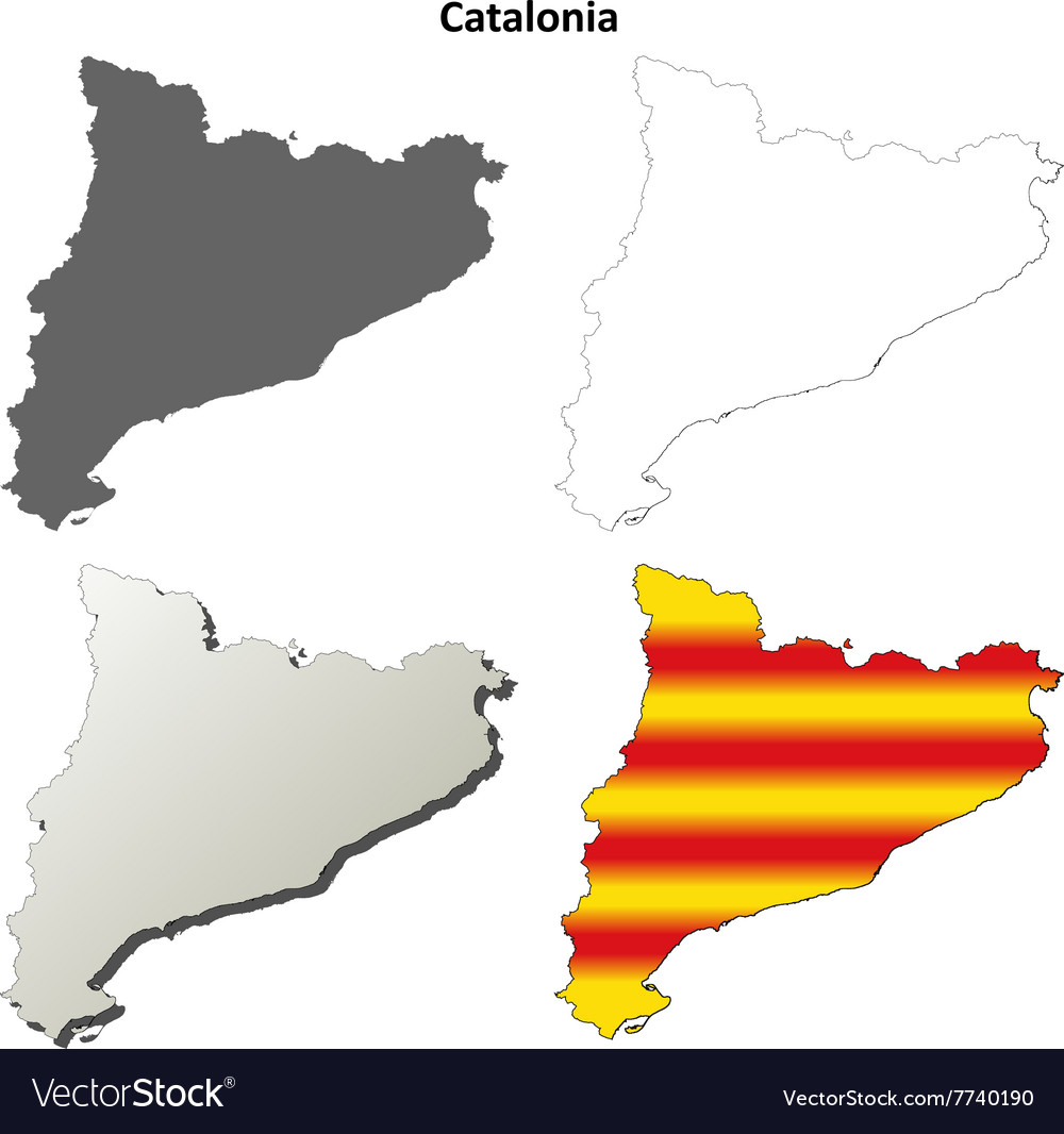 catalonia blank outline map set catalan version vector image