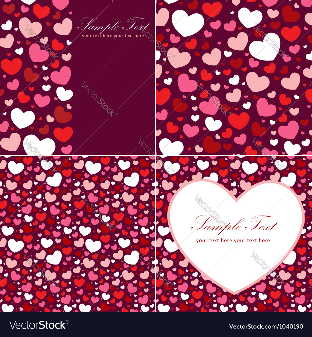 Cute Valentine heart set of congratulation cards