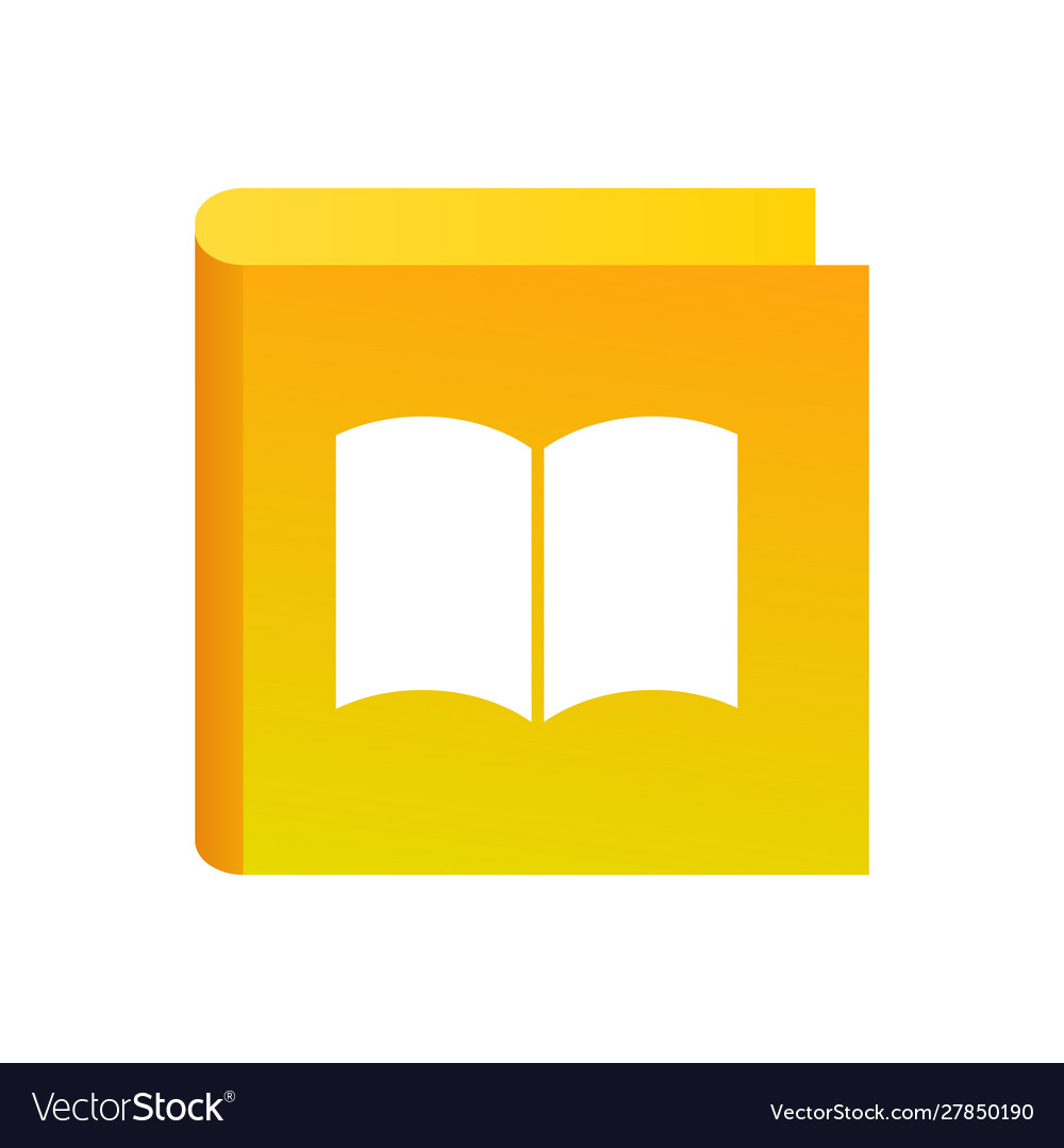 Education icon with book yellow color logo for
