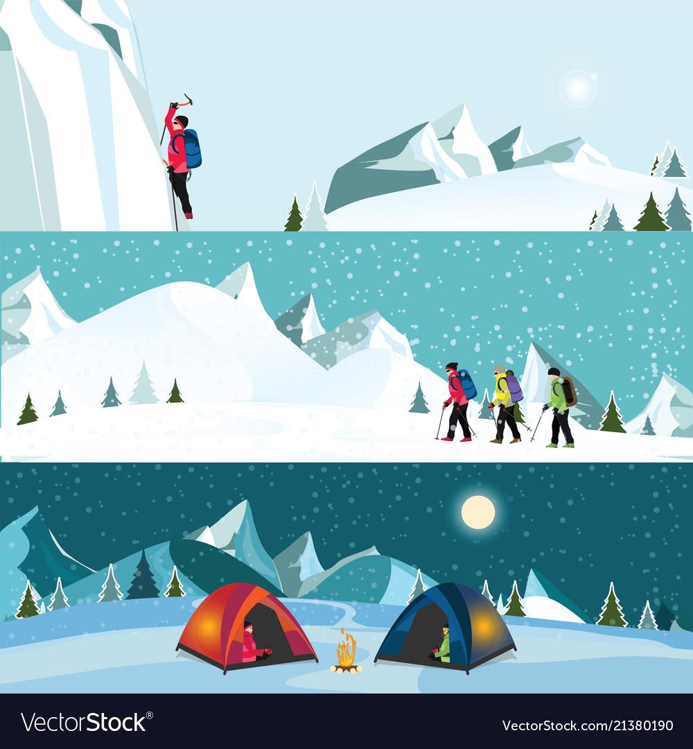 Flat banner set of ice climber