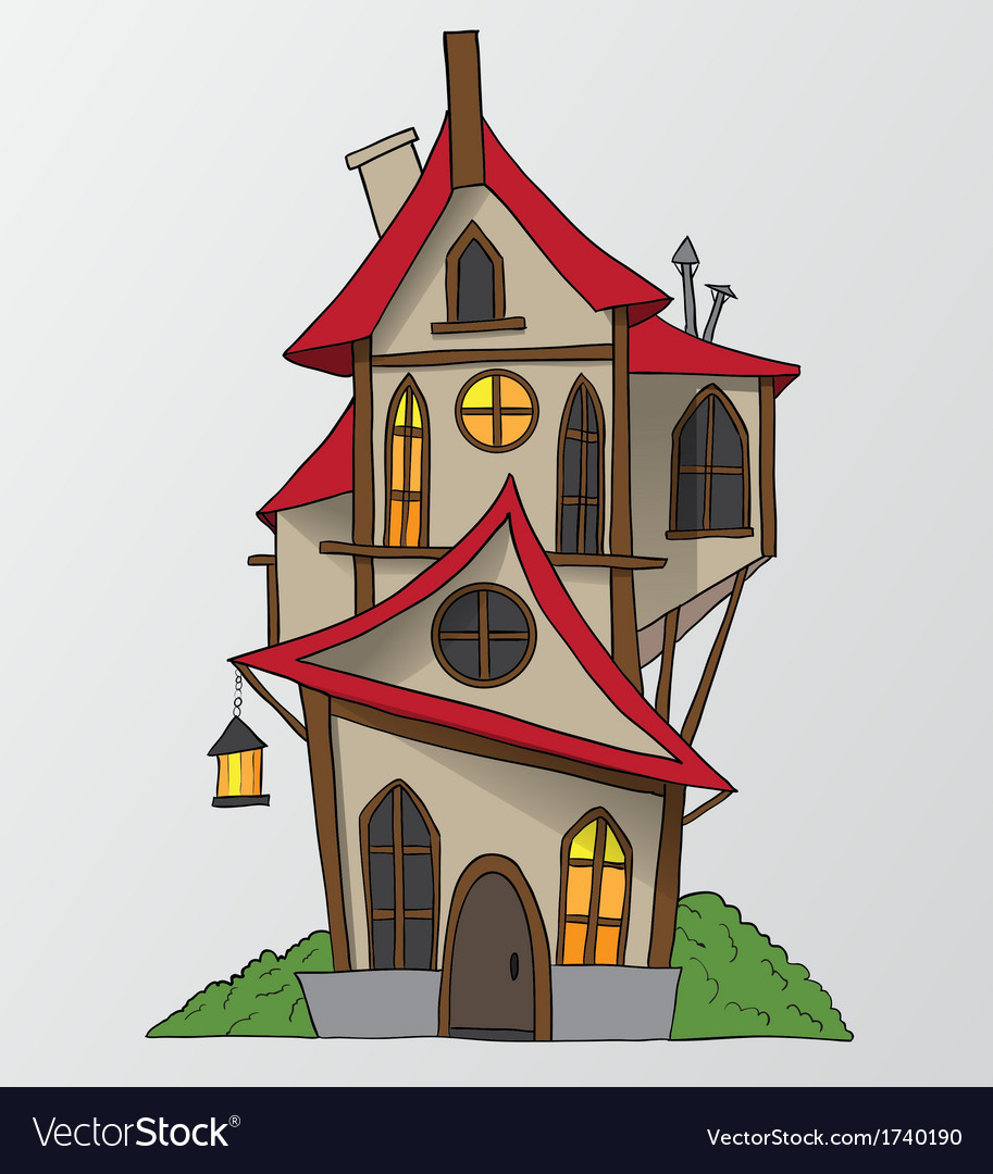 Funny House Cartoon Royalty Free Vector Image Vectorstock
