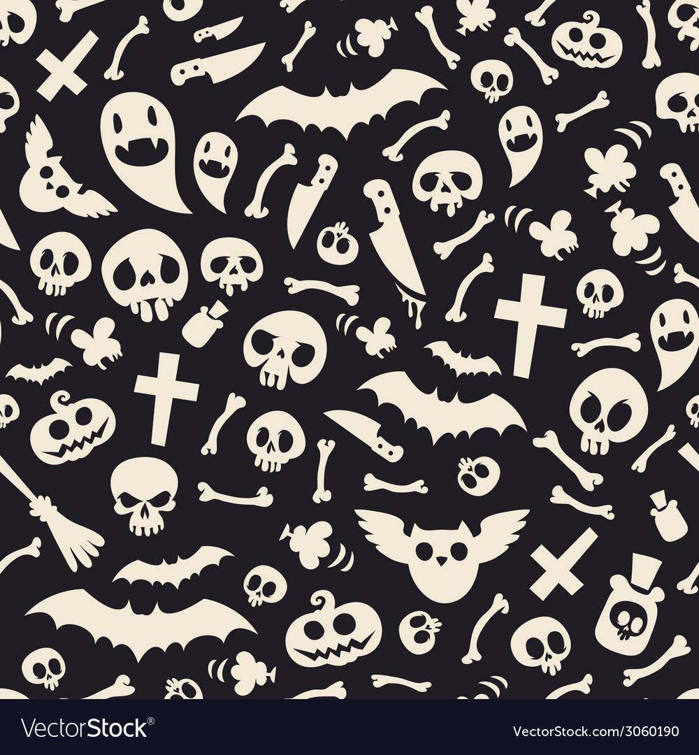 Halloween Symbols Seamless Pattern Contrast