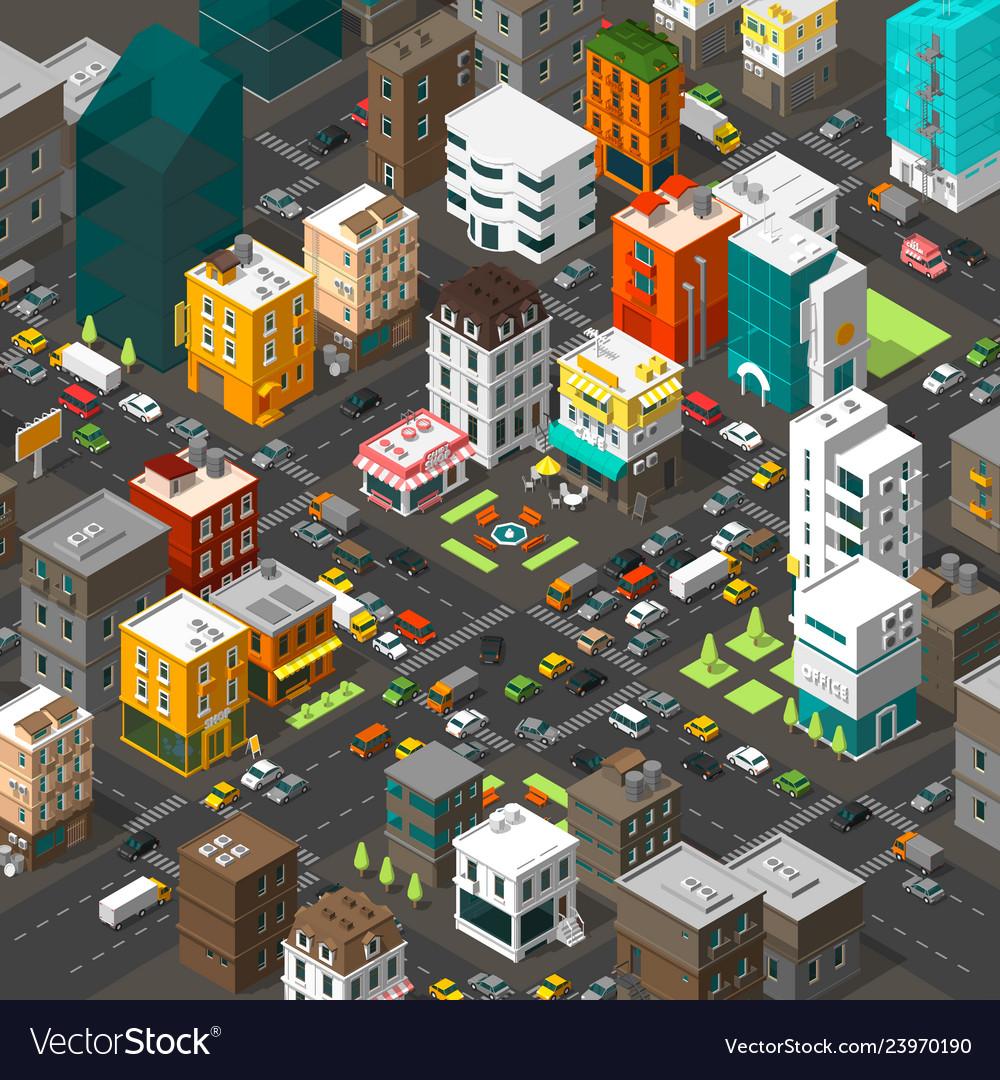 Isometric city cartoon town district