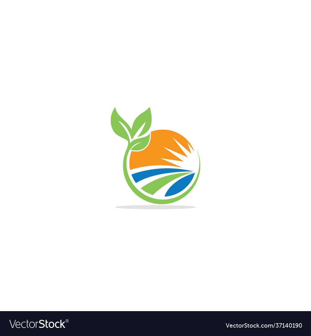 Landscape nature village round logo