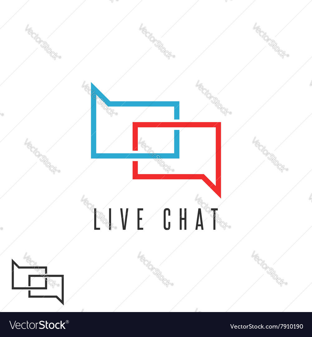 Live chat logo mockup speech message red and blue vector image