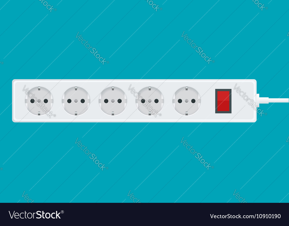 Modern electric extension cord on a white vector image