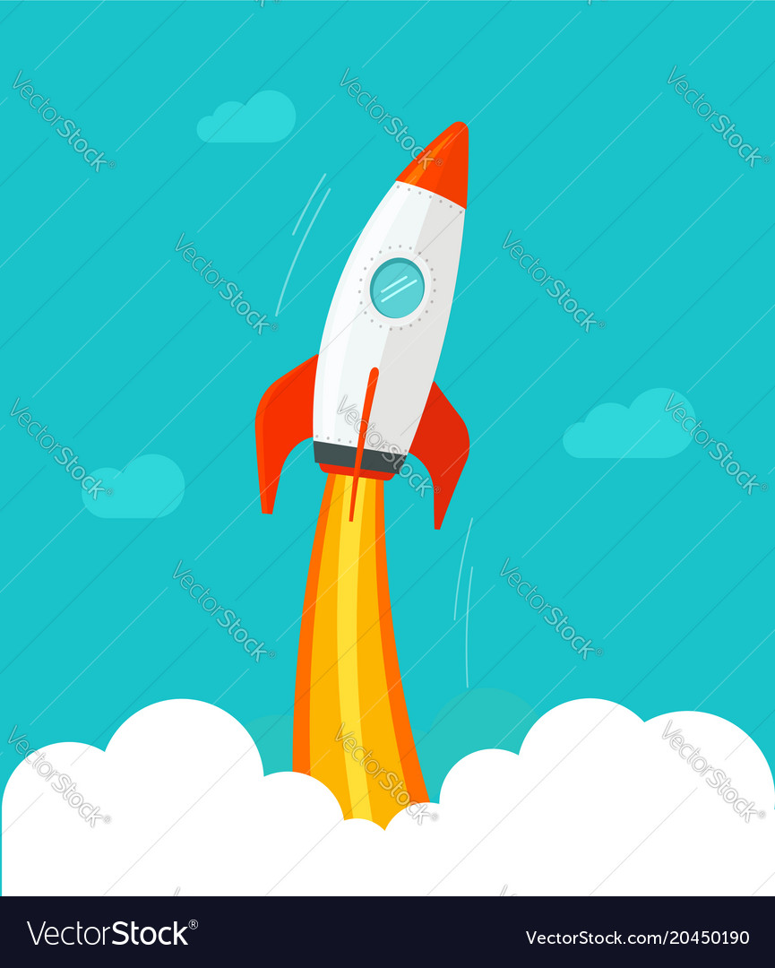 Rocket ship flying flat