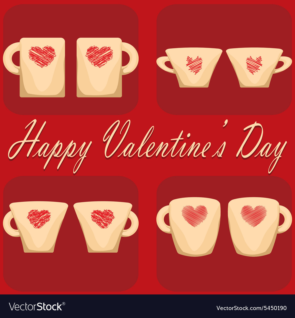 Valentine day couple of cups red background