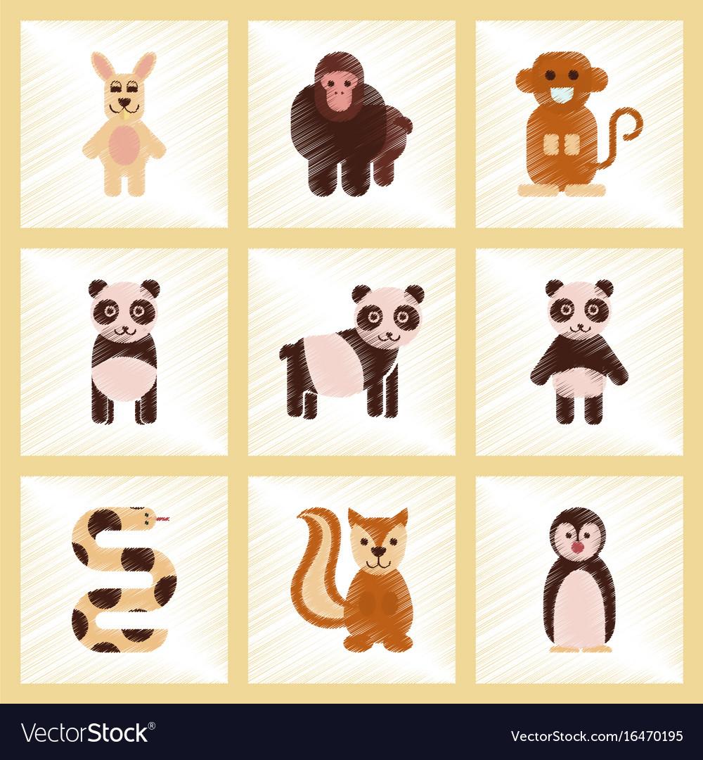 Assembly flat shading style icons panda monkey