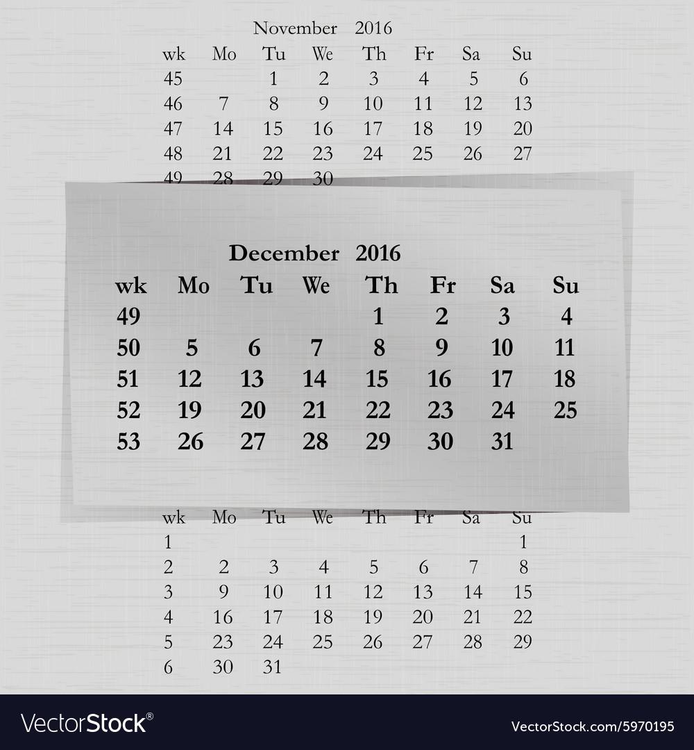 Calendar month for 2016 pages December start