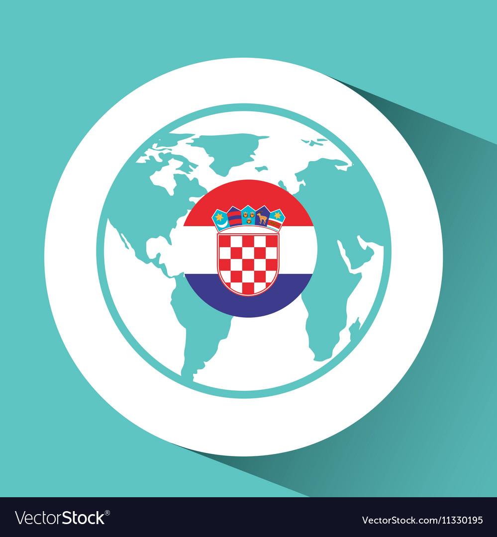 Croatia Flag Pin World Map Icon Design Royalty Free Vector