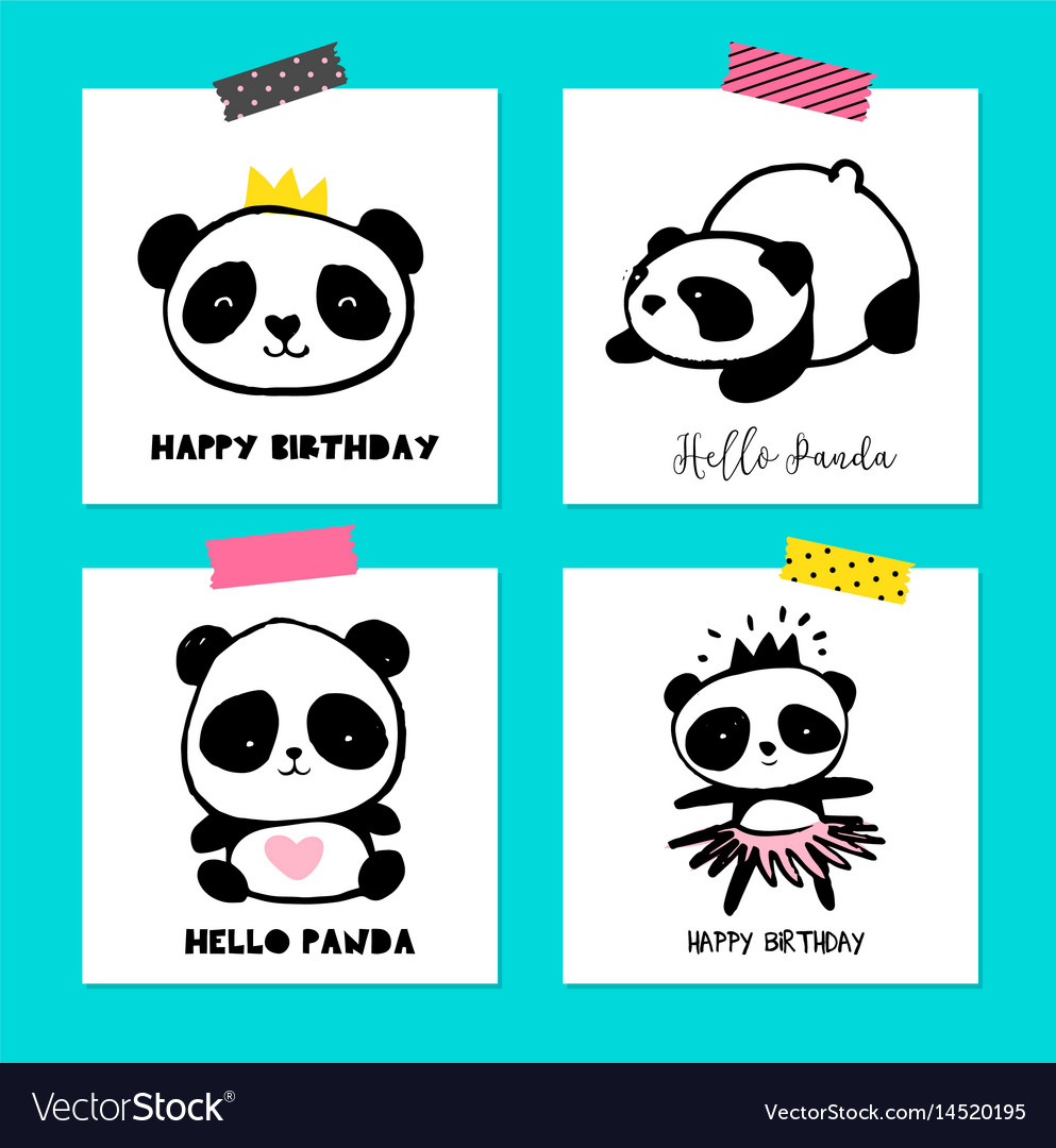 Cute panda bears simple style cards posters