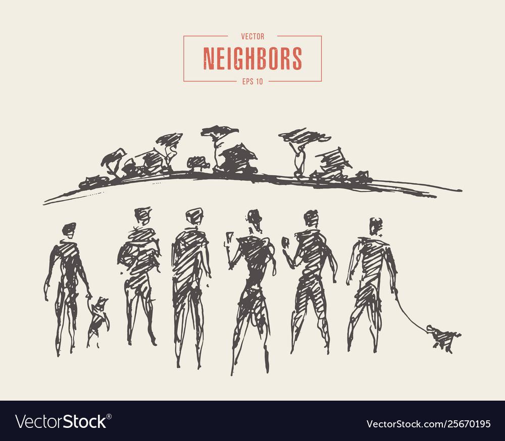 Friendly neighbors walking park draw sketch