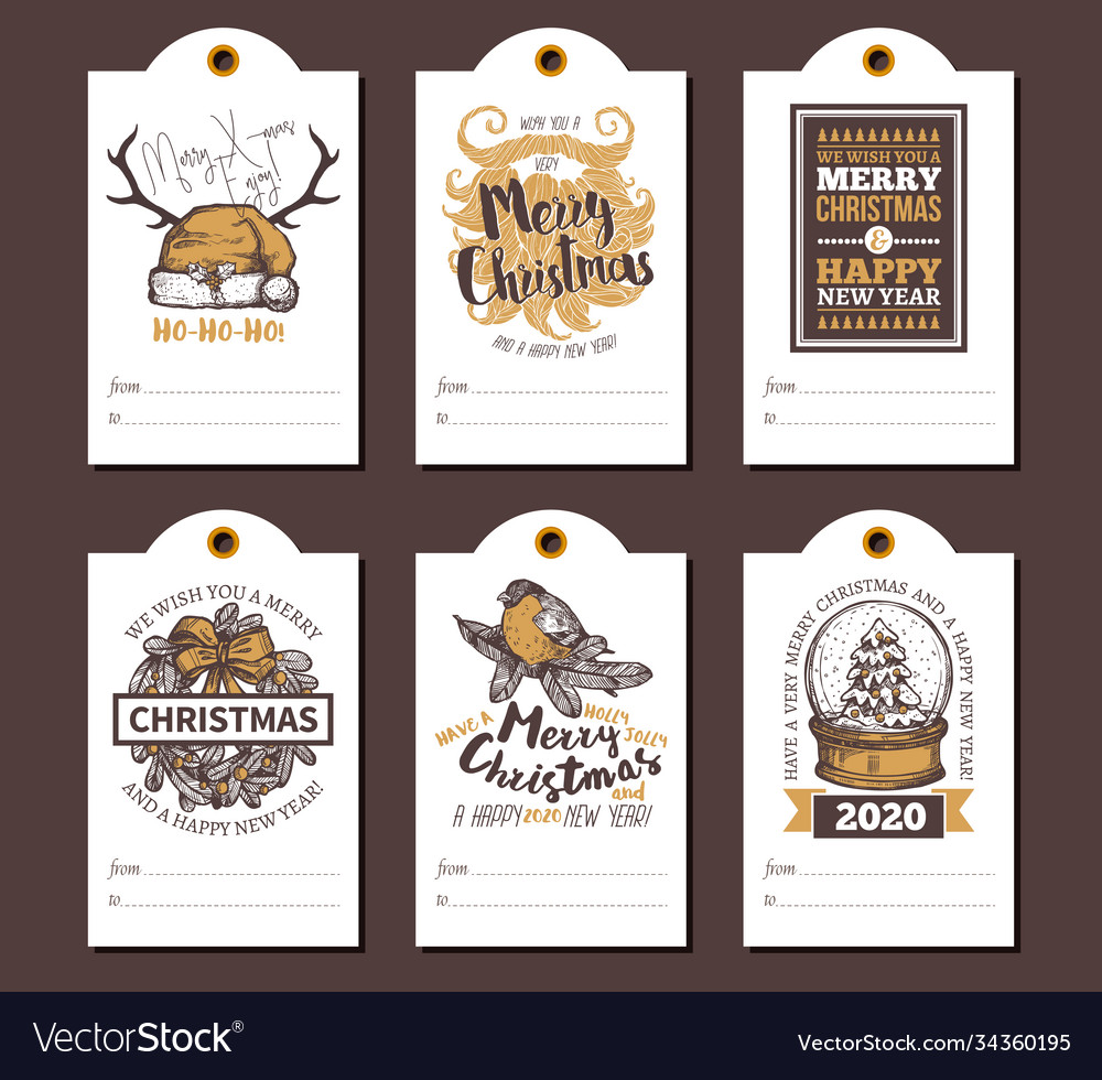 Happy new year greeting cute tags cards for gifts