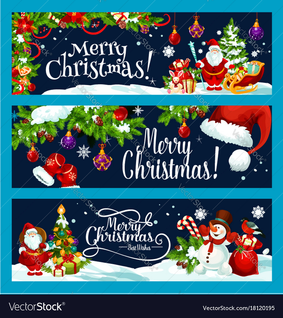 Merry christmas tree gift decoration banner
