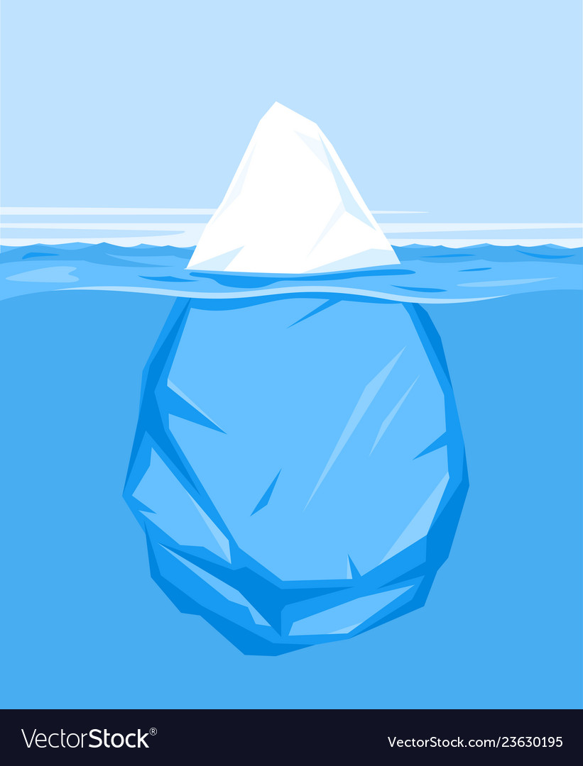 One iceberg in water