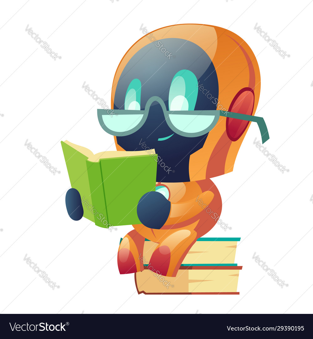 Robot in glasses reading book in library clip art