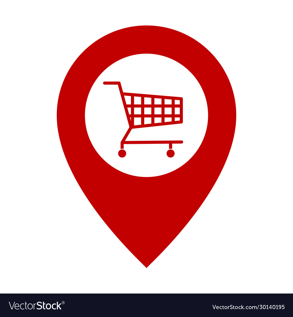 Shopping cart and pin icon red