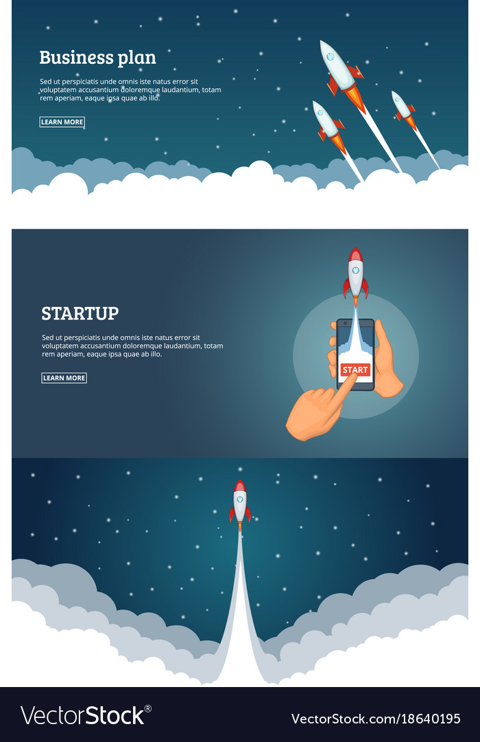 Startup project banner concept set business