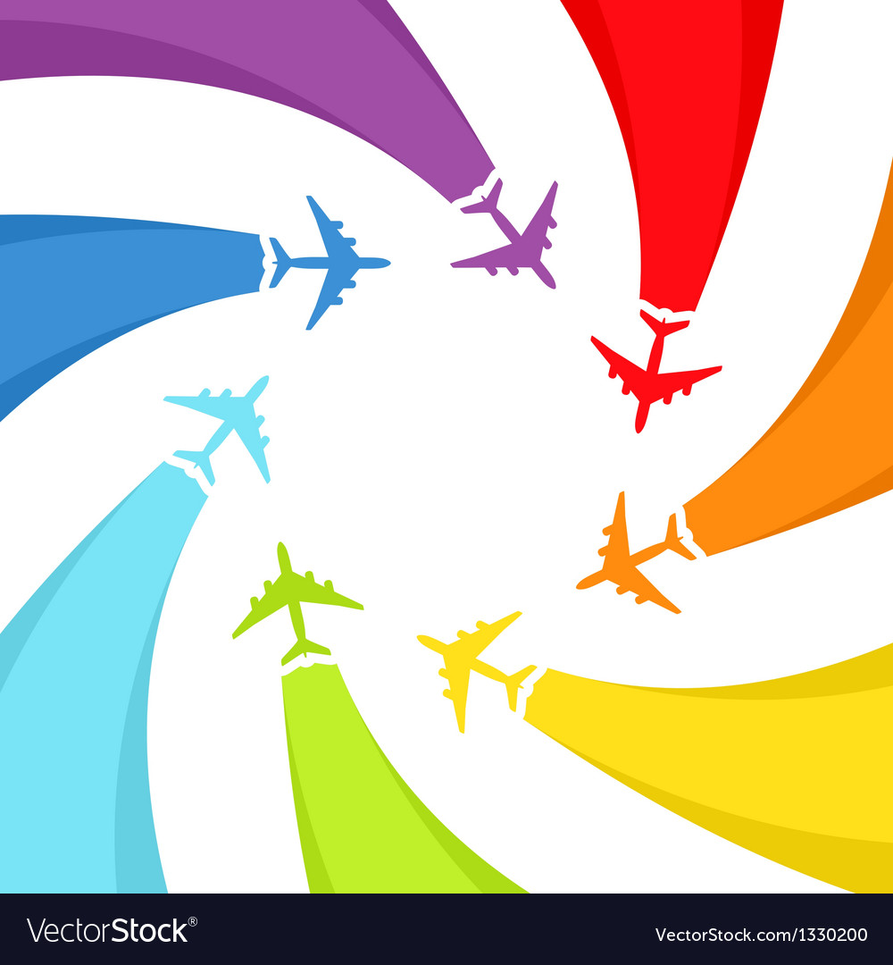 Background with rainbow airplanes