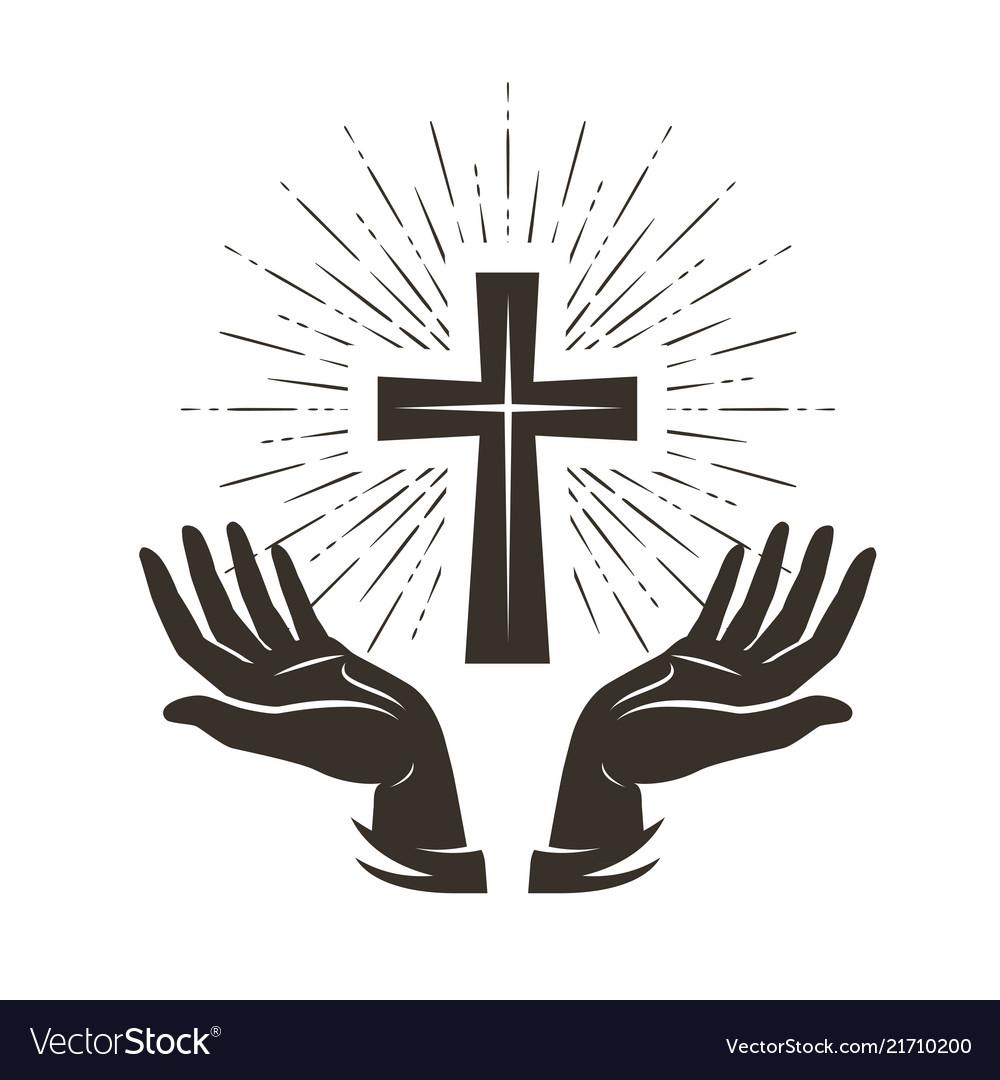 church logo or label prayer religion concept vector image