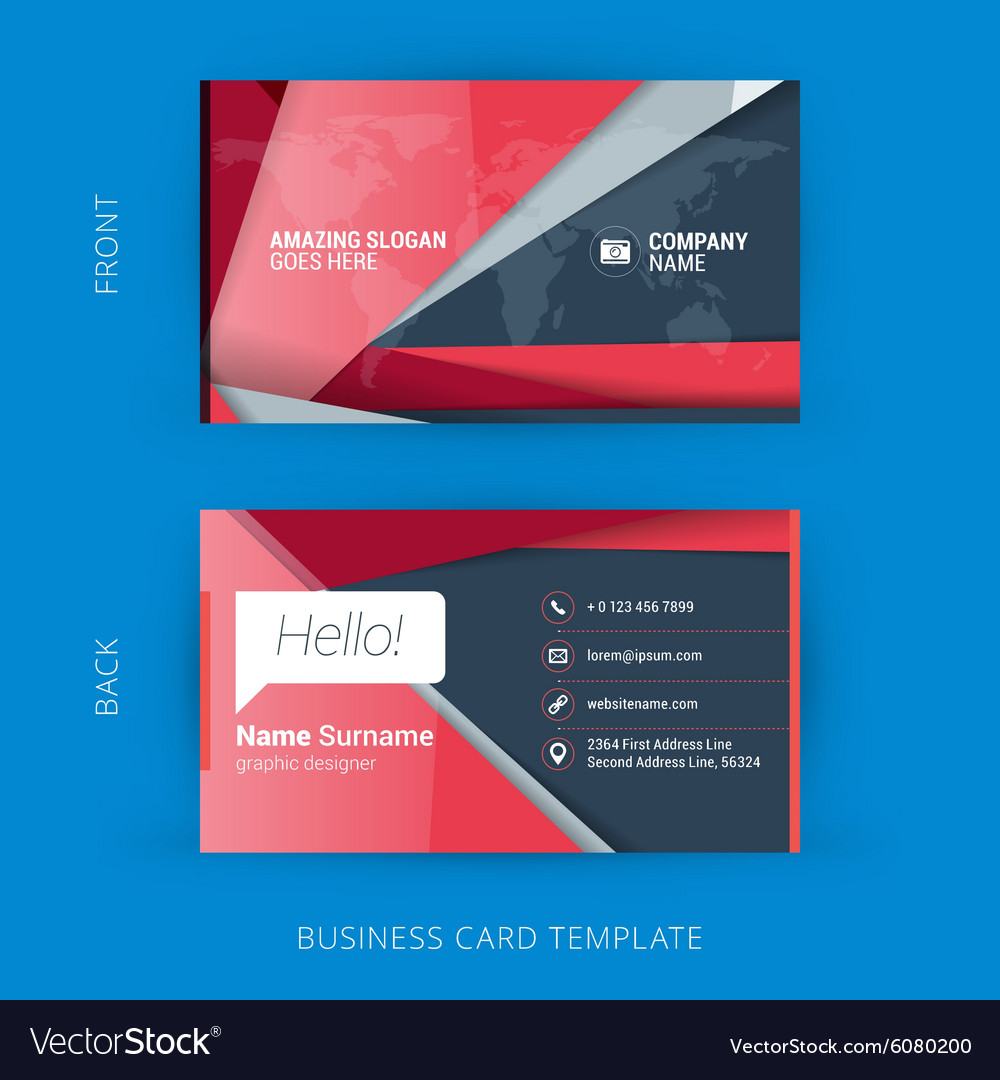 Creative and Clean Business Card Template with Vector Image