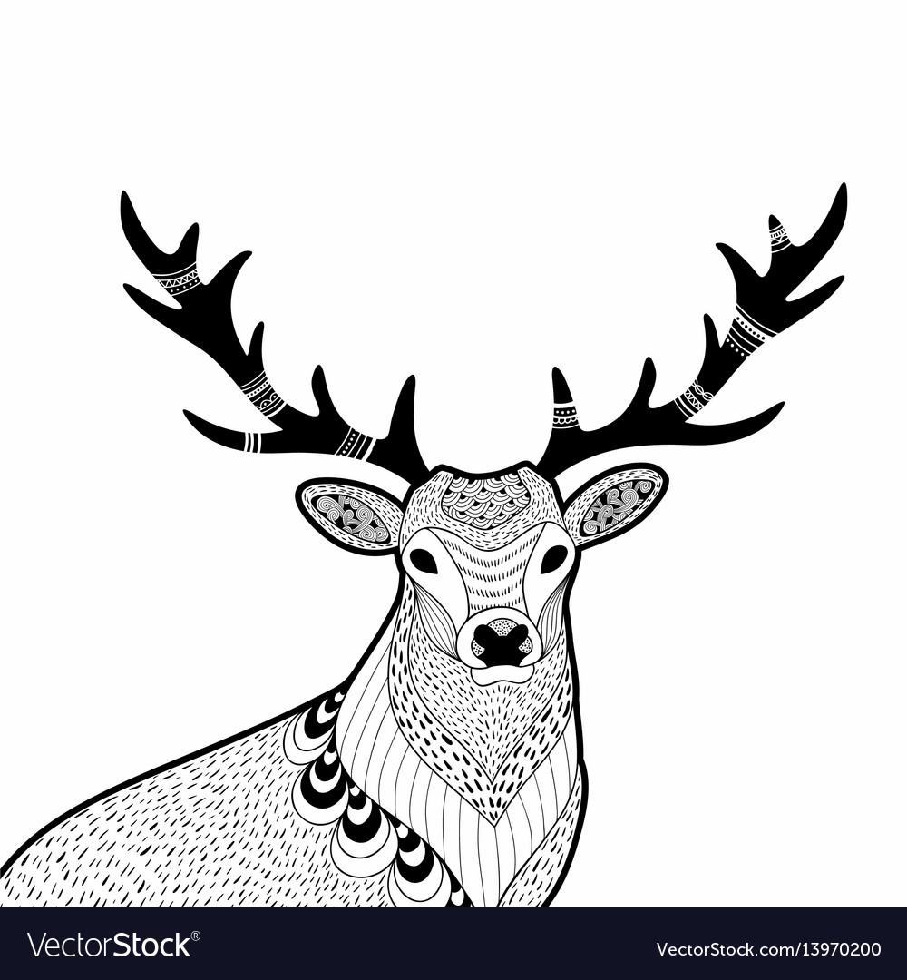 Creative doodle of wild deer hand
