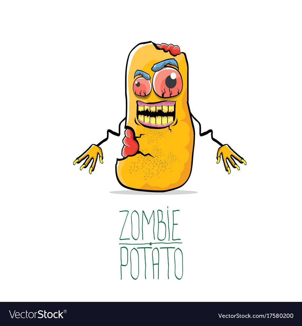 Funny cartoon cute orange zombie potato