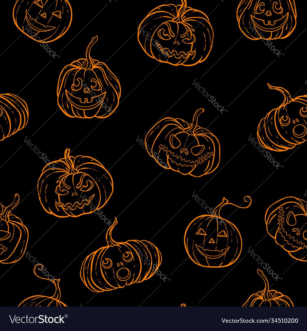 Halloween seamless pattern black and white