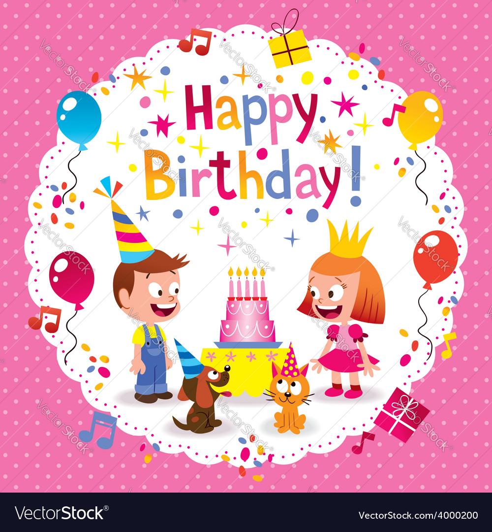 Happy Birthday Cute Kids Card Royalty Free Vector Image
