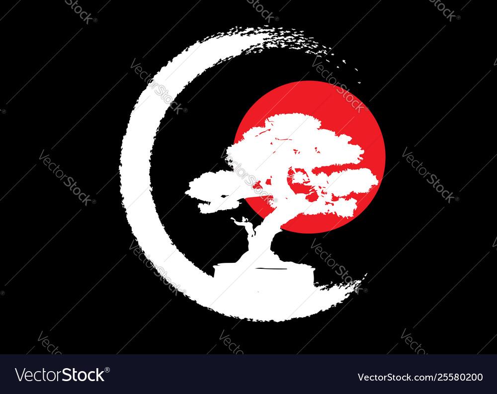 Japanese bonsai tree logo white plant silhouette