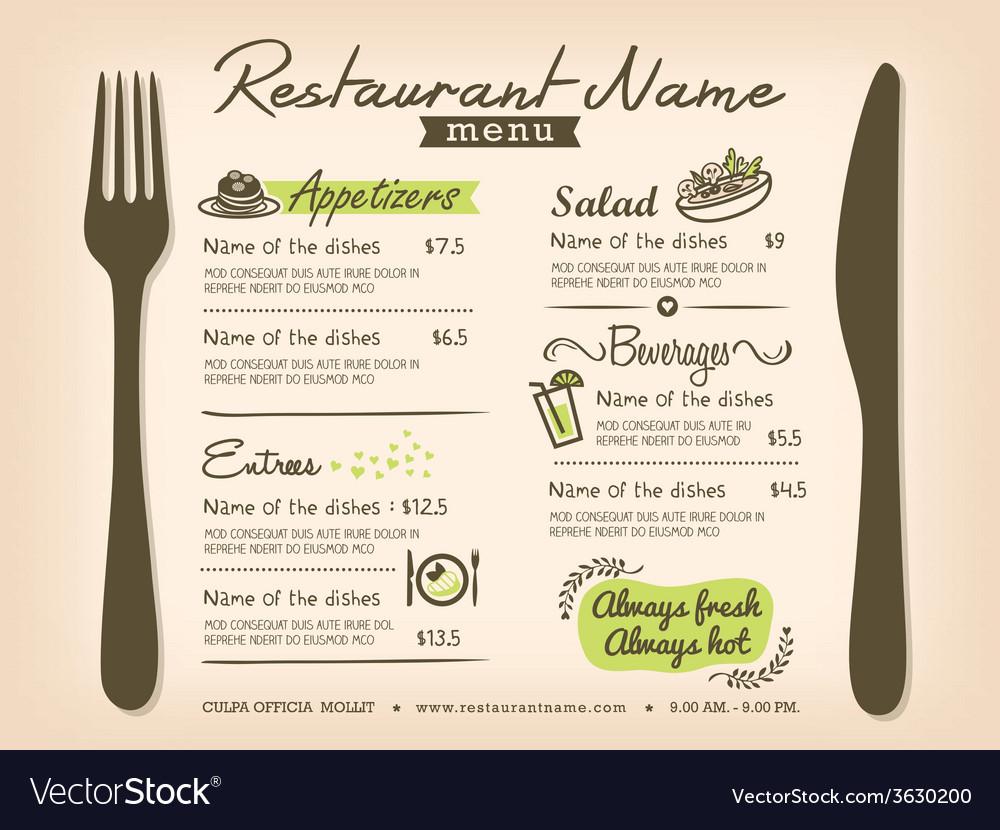 Restaurant Placemat Menu Design Template Layout vector image