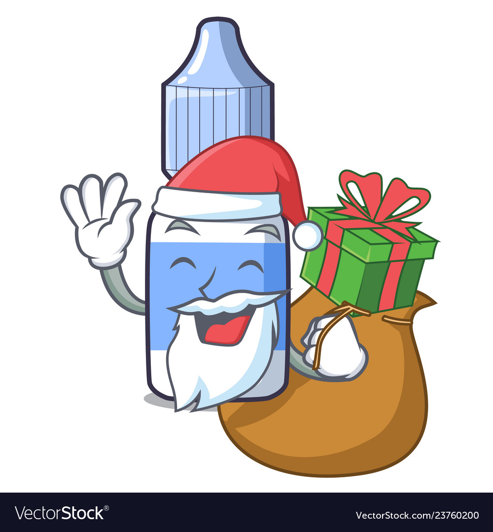 Santa with gift eye drops isolated with the
