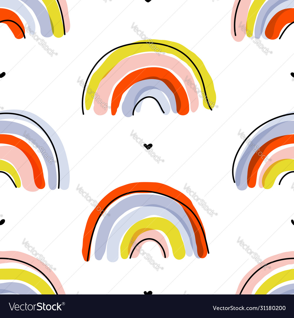 Seamless pattern with cute abstract rainbows