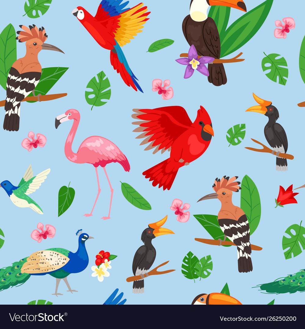 Tropical birds jungle summer seamless