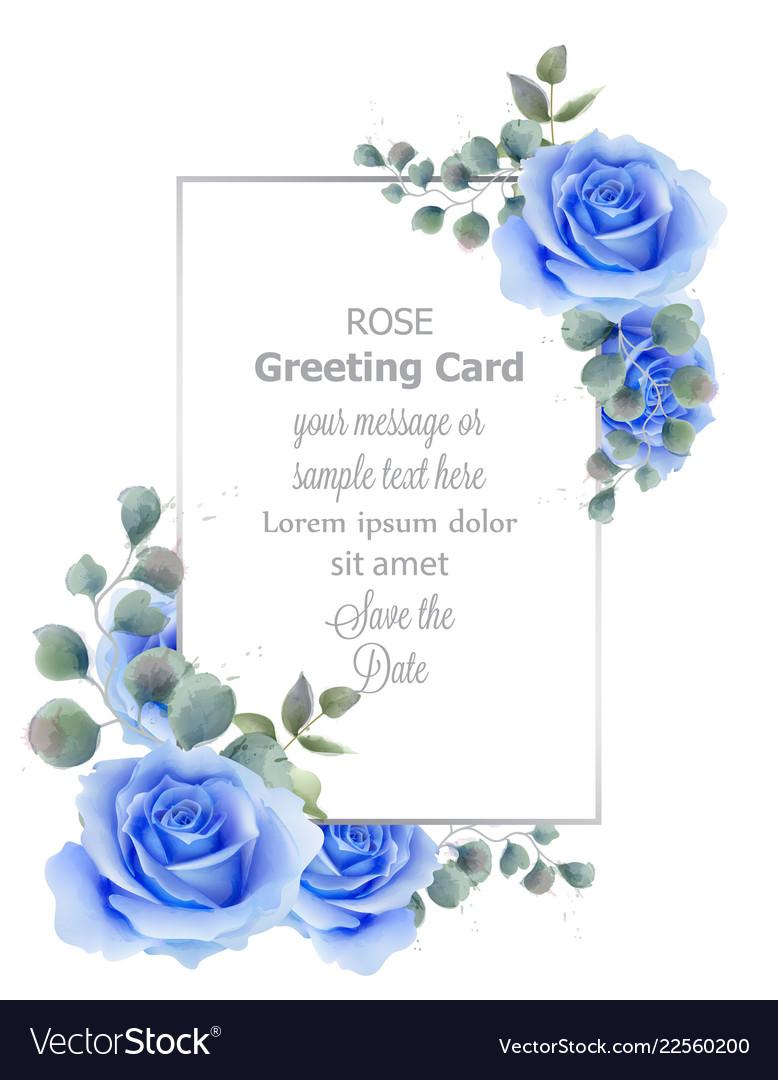 Watercolor blue rose flower card vintage