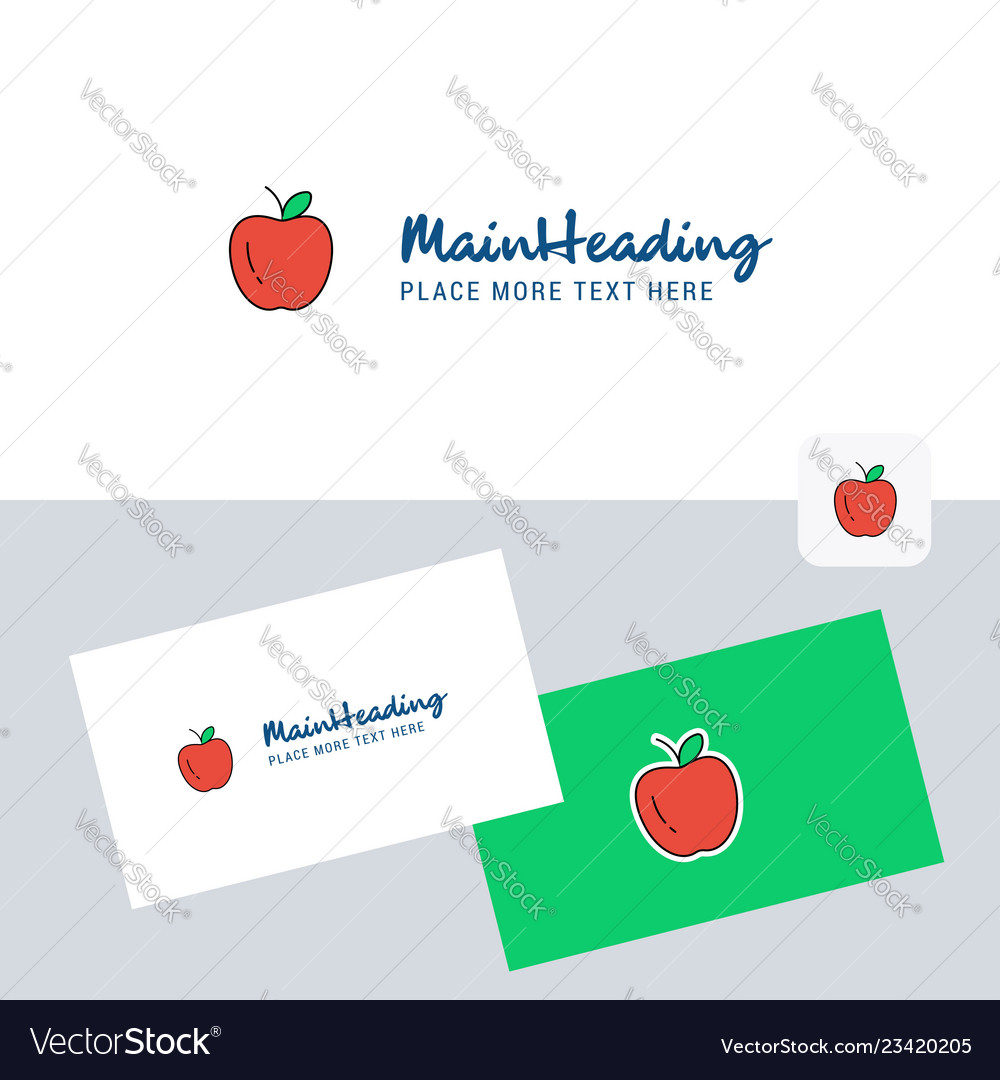 Apple Logotype With Business Card Template Vector Image