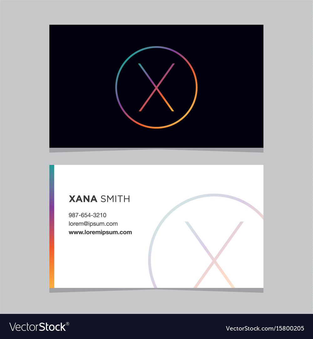 Business-card-letter-x vector image