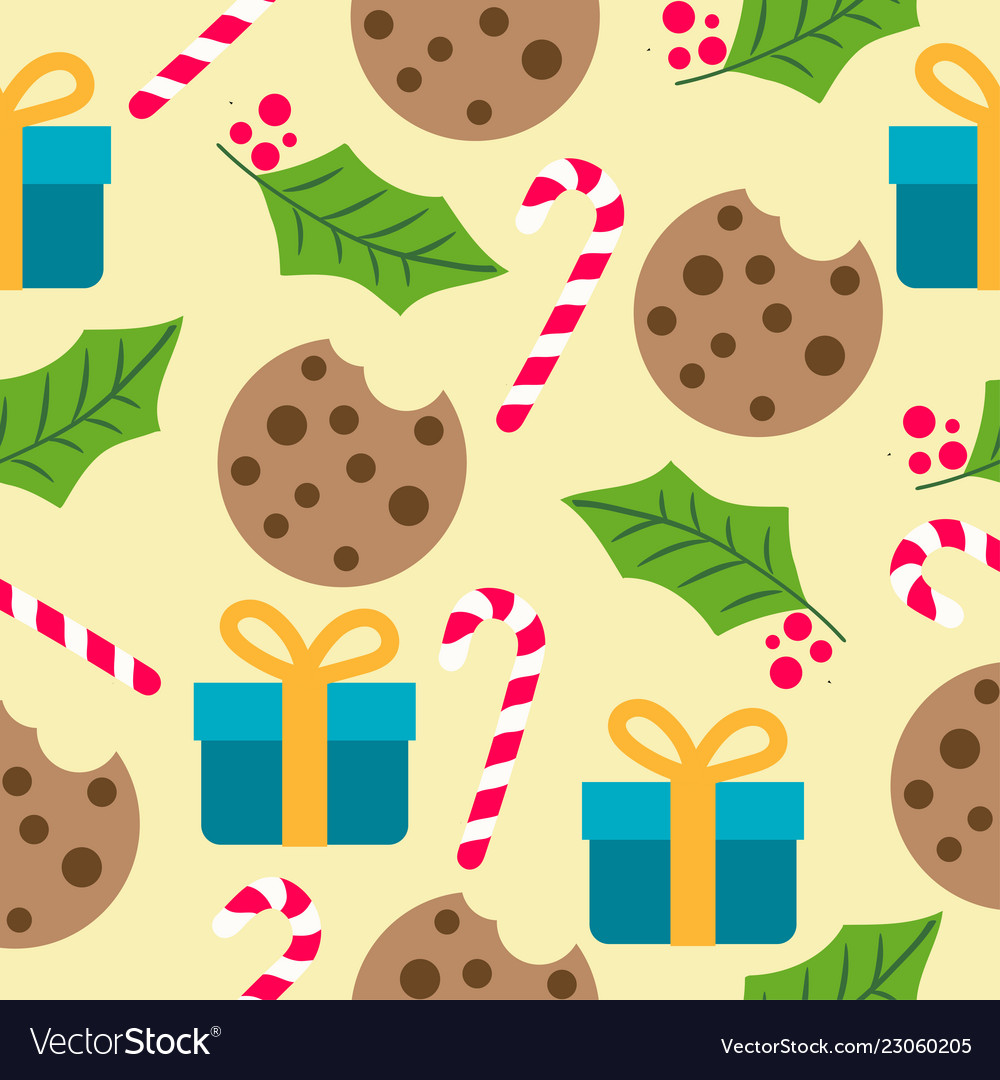 Christmas seamless pattern with presents candy