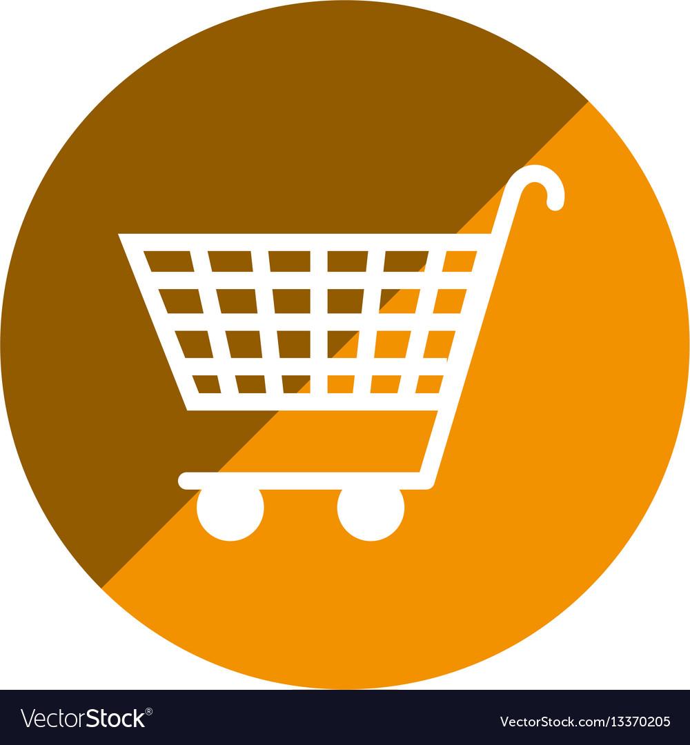color circular emblem with shopping cart icon vector image