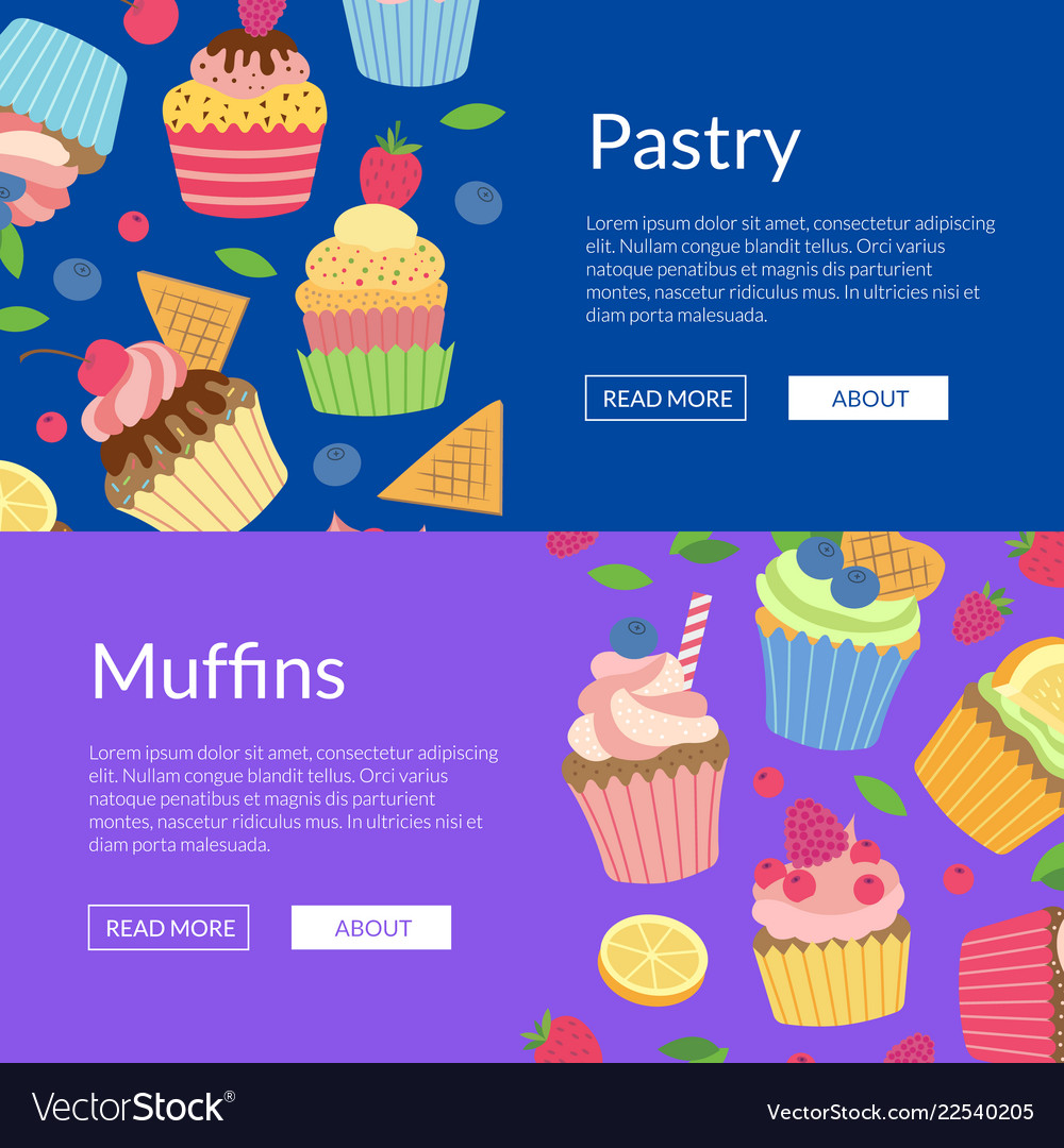 Cute cartoon muffins or cupcakes web banner