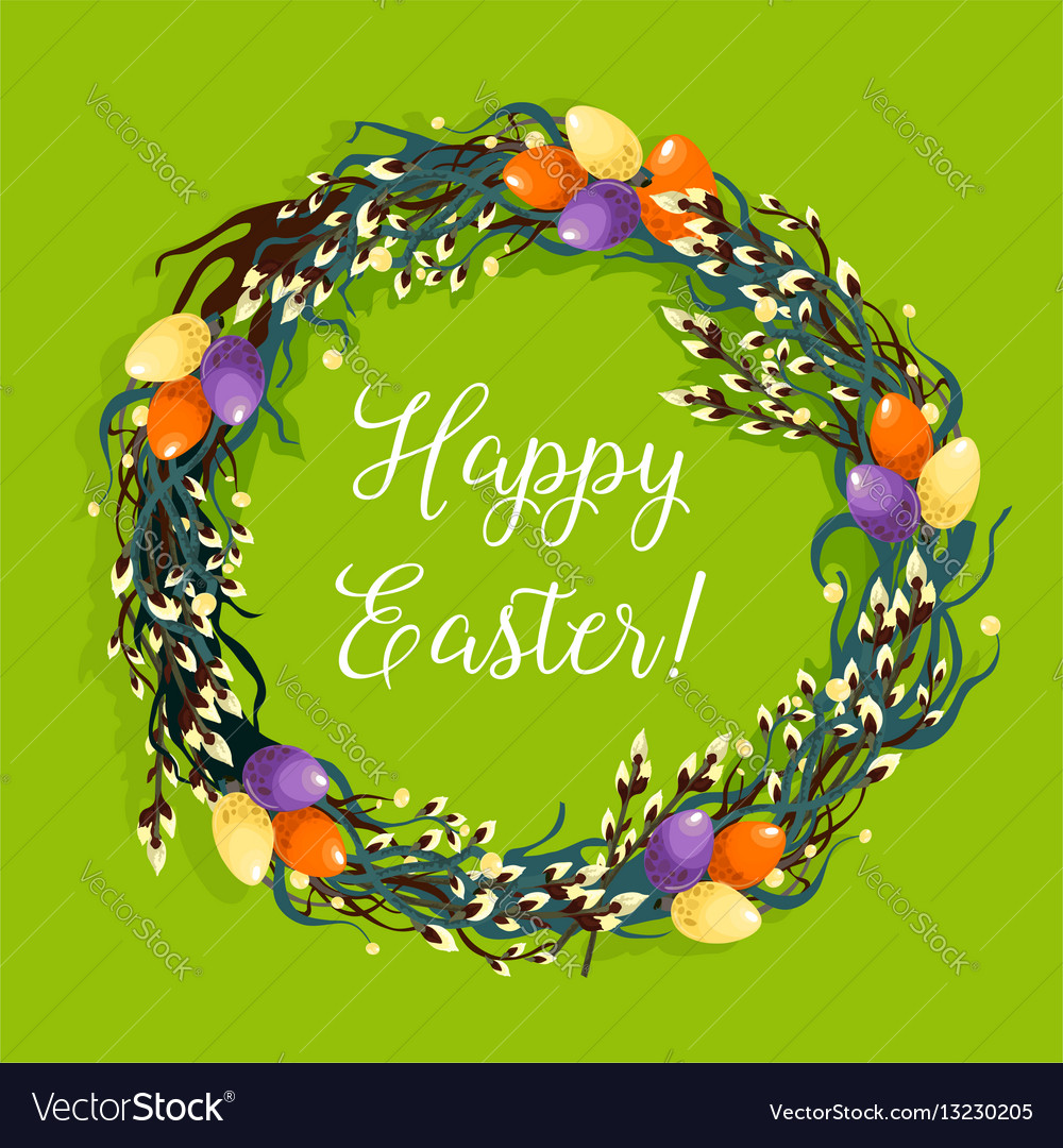 Easter wreath with egg and willow for card design