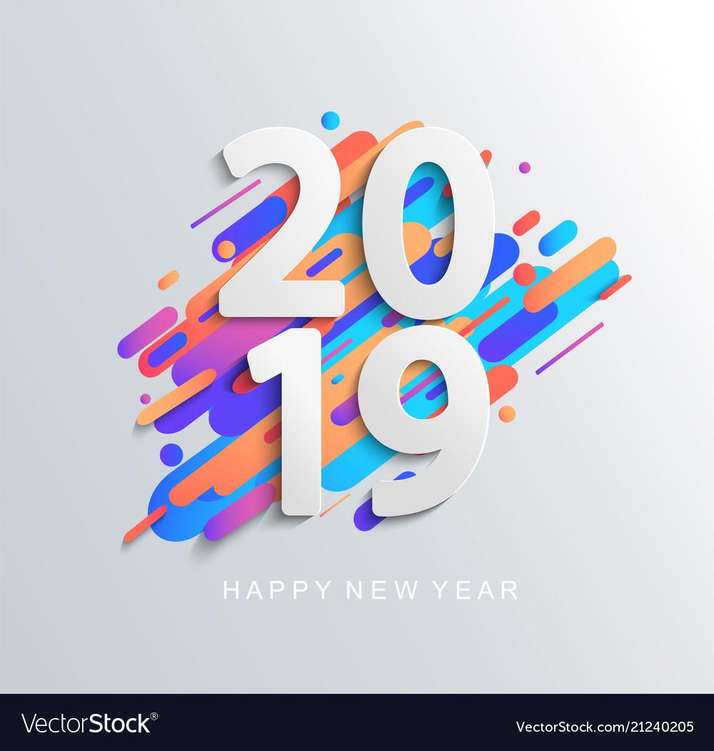 New year 2019 design card on modern background