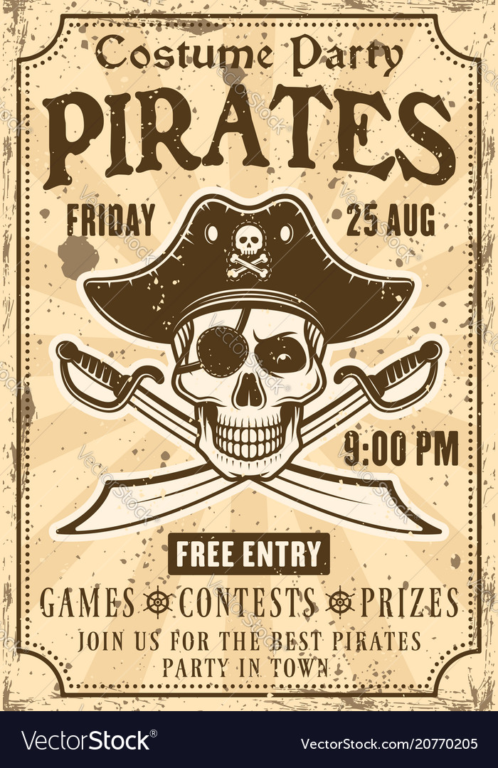 pirates invitation to costume party vintage poster