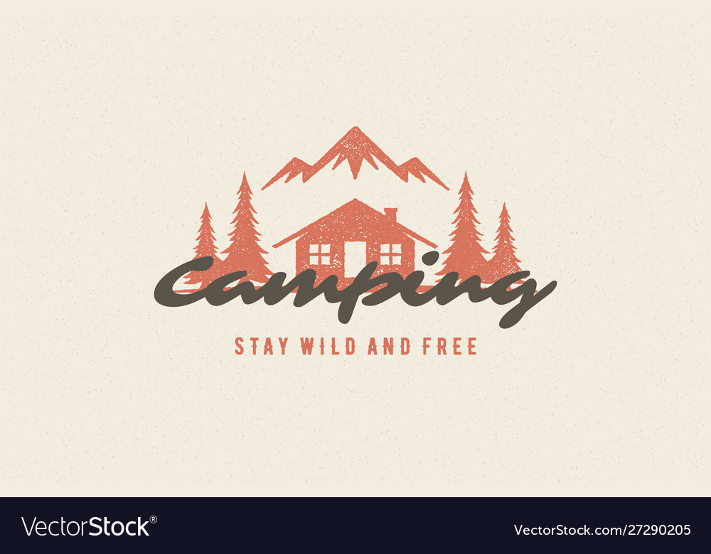 Saying quote typography with hand drawn camping