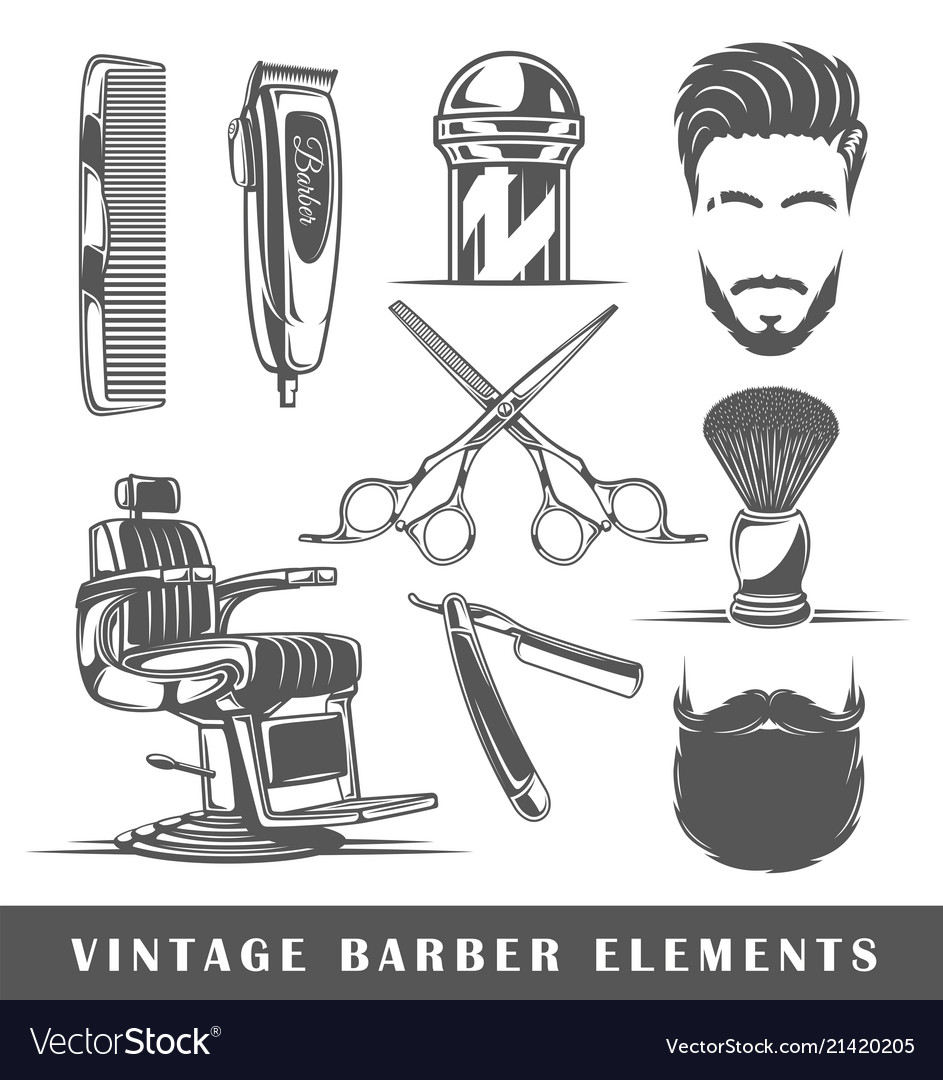 Set of elements of the barbershop