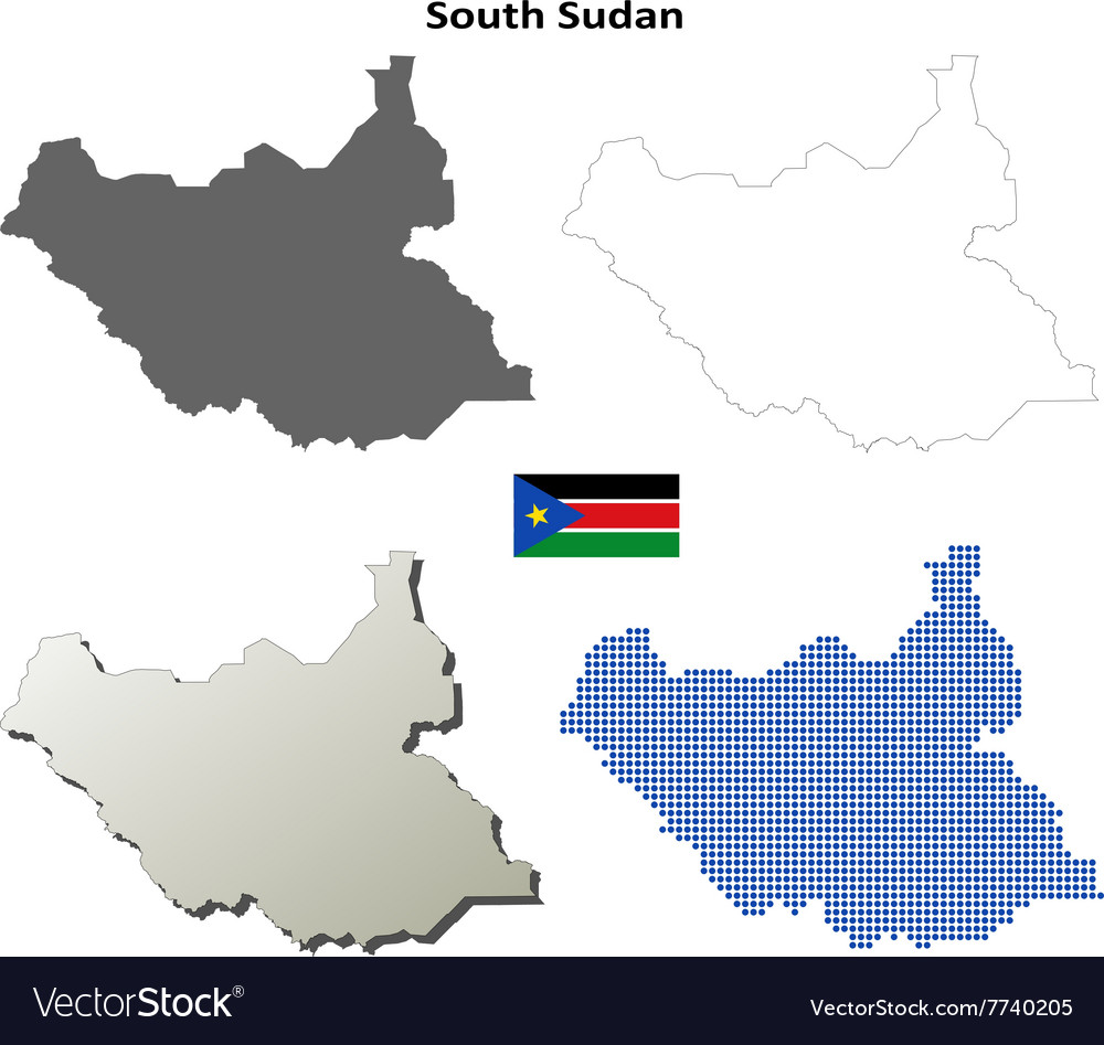 South Sudan outline map set Royalty Free Vector Image
